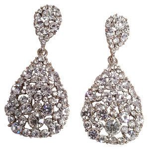 Briliant Austrian Crystal Rhodium Plated Bridal Drop Earrings Pierced