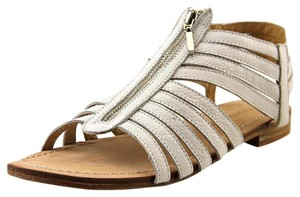 Madison Harding Leather Silver Hardware Caged Gladiator White Sandals
