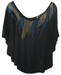 Free People Bohemian Crop Embellished Top Navy Blue