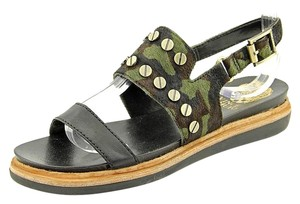 Vince Camuto Leather Gold Hardware Slingback Pony Hair Camo Sandals