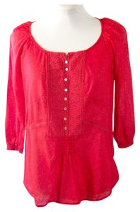 Zara Boho Peasant Top Red