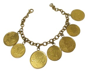 Veronese Collection Veronese 18k Yellow Gold Over .925 Sterling Sliver Polish Italian Lire Coin Bracelet Fits 7 1/2 to 8 Inch Wrist