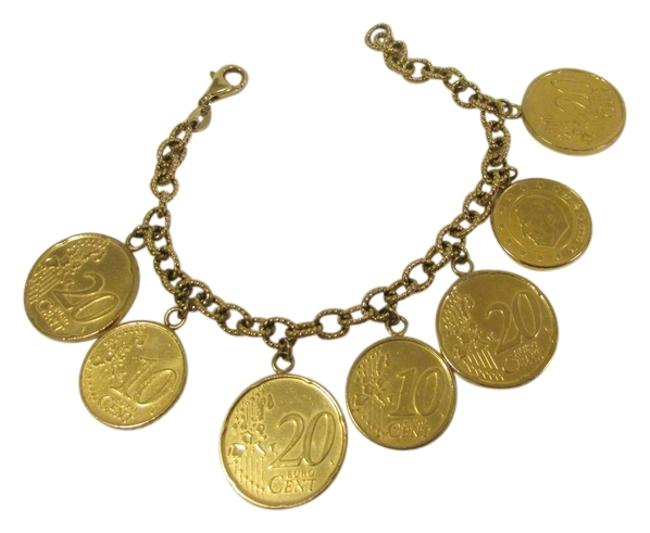 Item - Sterling Silver.925/18 Bonded 18k Yellow Gold Over .925 Sliver Polish Italian Lire Coin Fits 7 1/2 To 8 Inch Wrist Bracelet
