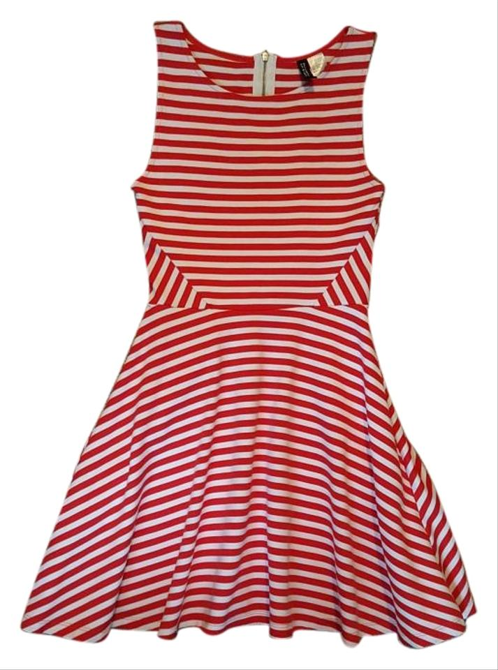 H&M Red and White Circle Skirt A-line Nautical Striped Above Knee ...