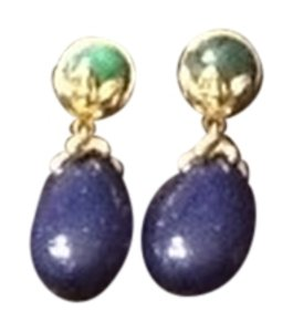 Gold Tone Lapis Like Pierced Earrings