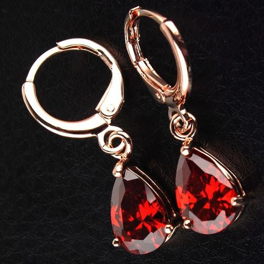 Red 18k Rose Gold Filled Garnet Cz Stone Pierced Dangle Earrings