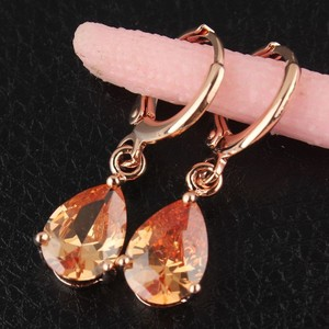 18k Yellow Gold Filled Champagne Zircon Dangle Earring