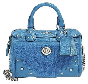 Coach Wt 36478 Peacock Shearling Satchel in Blue