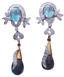 Diamond topaz earrings Diamond & topaz drop earrings in 20 carat gold