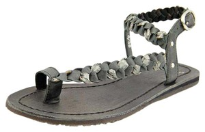 Bronx Edgy Leather Yoga Festival Black Silver Sandals