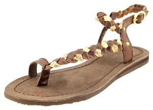 Bronx Edgy Leather Yoga Festival Brown Gold Sandals