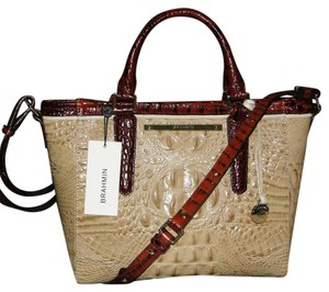 Brahmin Arno Leather Satchel in Twill Tri Color