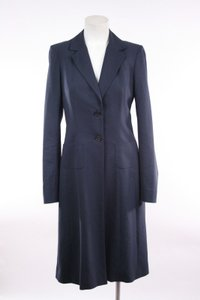 Morgane Le Fay Navy Wool Nylon Long Multi Panel Coat