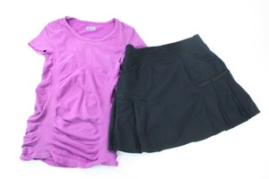 Athleta Lot Of Athleta Ss Cotton Nylon Purple T-shirt Black Skort