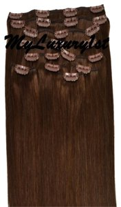 MyLuxury1st Medium Brown 10 pieces 100 grams Remy Human Hair Clip in Extensions Clipins