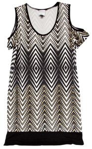 Nicole Miller Cut Out Sleeve Metallic Stripe Dress