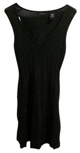 Moda International short dress Black V-neck Sleeveless Sweater Pleated Ribbed Comfortable Classic Chic on Tradesy