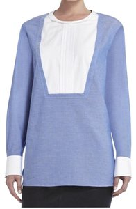 BCBGMAXAZRIA Button Down Shirt Blue/White