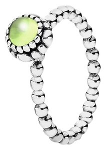 PANDORA Birthday Stackable 925 Sterling Silver Ring, August, Peridot Stone