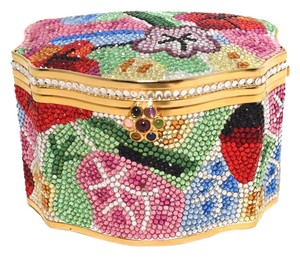 Judith Leiber Minaudiere Swarovski Floral Jewelry Box multicolored Clutch