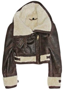 Burberry Prorsum Aviator Shearling Biker Brown Jacket