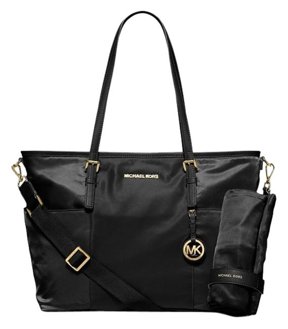 Item - Jet Set Large Pocket Black Nylon and Leather Diaper Bag