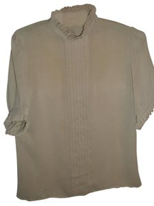 Other Feminine Ladylike Work Night Out Lightweight Button Down Shirt beige