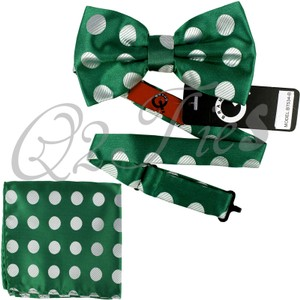 Brand Q Microfiber Big Polka Dots Pre-tied Bowtie And Pocket Square Hanky Wedding Prom Bt534b