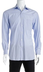 Ermenegildo Zegna Button Down Shirt Blue