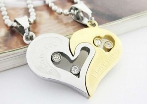 Silver/Black/Rose Gold Reduced I Love You Couples Matching Free Shipping Necklace