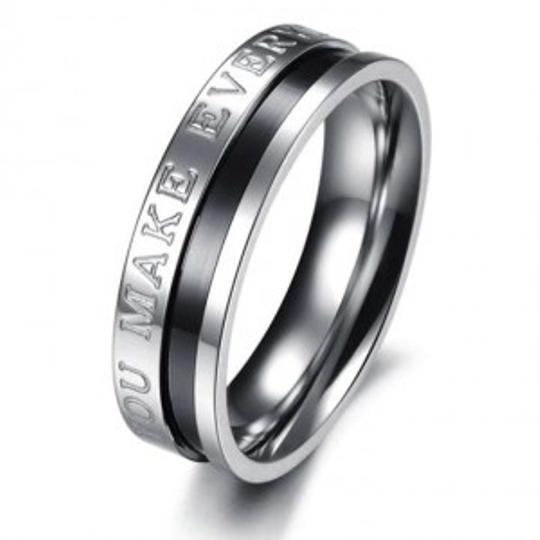 Silver/Black/Rose Gold Reduced Couples Matching Promise Band Free Shipping Ring