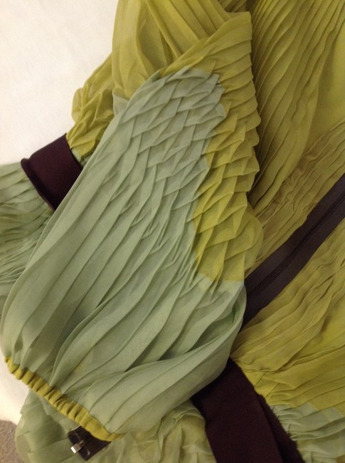 Zac Posen Silk Organza Fitted Pleated Plunge Top Shades of greens and burgundy Image 2