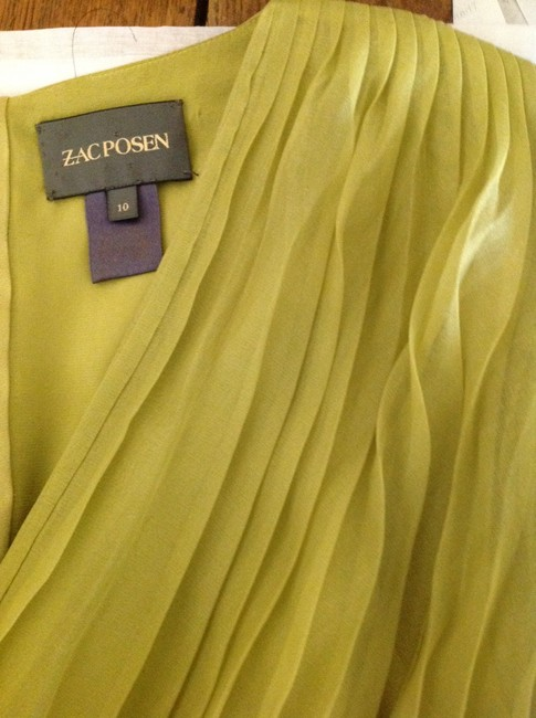 Zac Posen Silk Organza Fitted Pleated Plunge Top Shades of greens and burgundy
