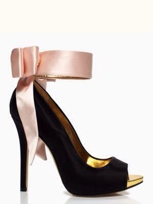 Kate Spade Black Pink Satin & Gold Pumps