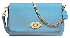 Coach 34604 Crossbody Petal Turn Lock Blue Jay Clutch