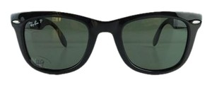 Ray-Ban Gently Used Ray-Ban Sunglasses RB 4105 601/58 Folding Wayfarer Black Acetate Polarized Gray Green Lens Full-Frame 53mm Italy