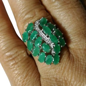 Other SALE* 5.36CT NATURAL COLOMBIAN EMERALD & CZ 14K WHITE GOLD PLATED STERLING SILVER RING