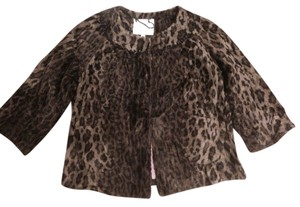 Rebecca Taylor Faux Fur Leopard Cropped Holiday Coat