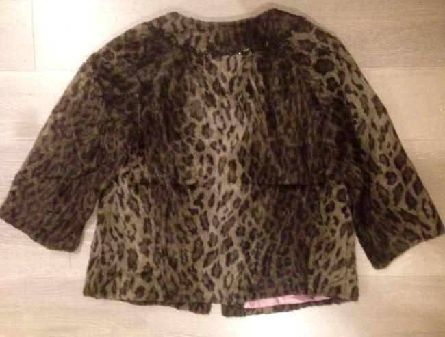 Rebecca Taylor Faux Fur Cropped Holiday Leopard Print Jacket