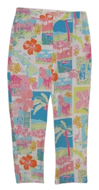 Item - White/Teal/Coral/Pink/Green Hawaiian Islands Pants Size 2 (XS, 26)