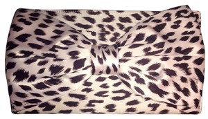 Betsey Johnson Bow Leopard Satin Bright Large Pink Brown Clutch