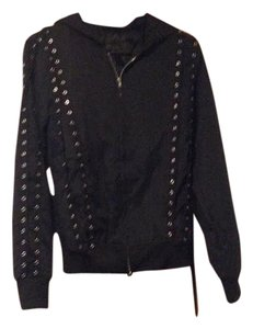 Rosegal Leather Punk Lace Lace Up Black Jacket