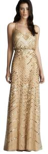 Adrianna Papell Chevron Beaded Gown Dress