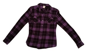 Mossimo Supply Co. Flannel Longsleeve Plaid Button Down Shirt Purple/Black