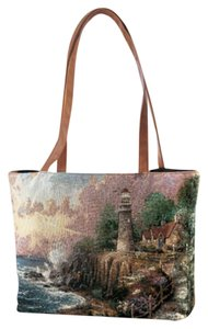 Avon Thomas Kinkade Tote Tapestry New Vintage Strap Faux Leather Shoulder Bag