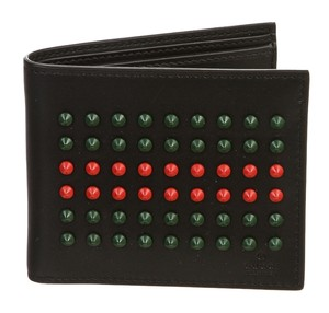 Gucci Gucci Black Multicolor Leather Studded Bifold Men's Wallet