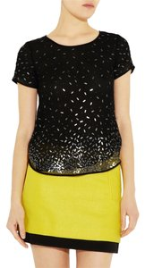 Theory New Beaded Top Black w/ pewter toned flat beads