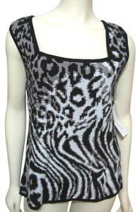 Erin London New L Sleeveless Shirt 12 14 Animal Print Gray Top black white