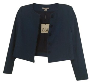 Zac Posen Fitted Cropped Teal Teal Blue Blazer
