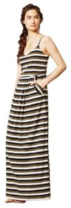 Black white green stripes Maxi Dress by Anthropologie